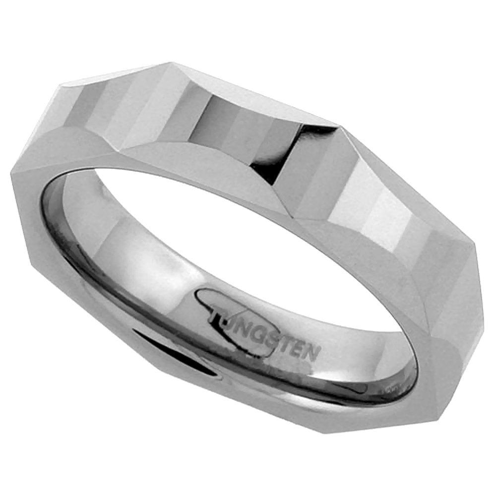 Tungsten Carbide 5.5 mm Faceted Flat Wedding Band Ring Hour Glass Patterns, sizes 7 to 14