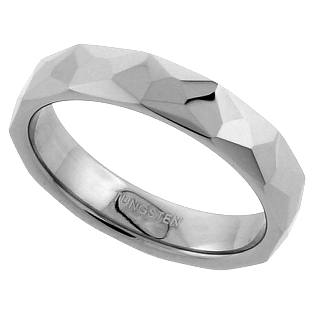 Tungsten Carbide 3.5 mm Faceted Tiny Pinky Toe Ring Abstract Pattern, sizes 3 to 5