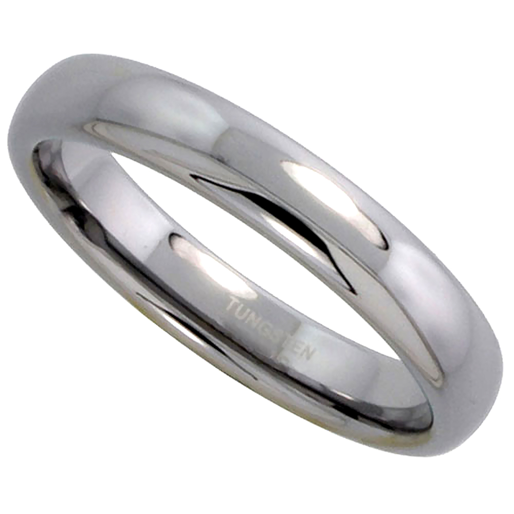 Tungsten Carbide 4 mm Domed Wedding Band Thumb Ring His & Hers Highly Polished Finish, sizes 5 to 12
