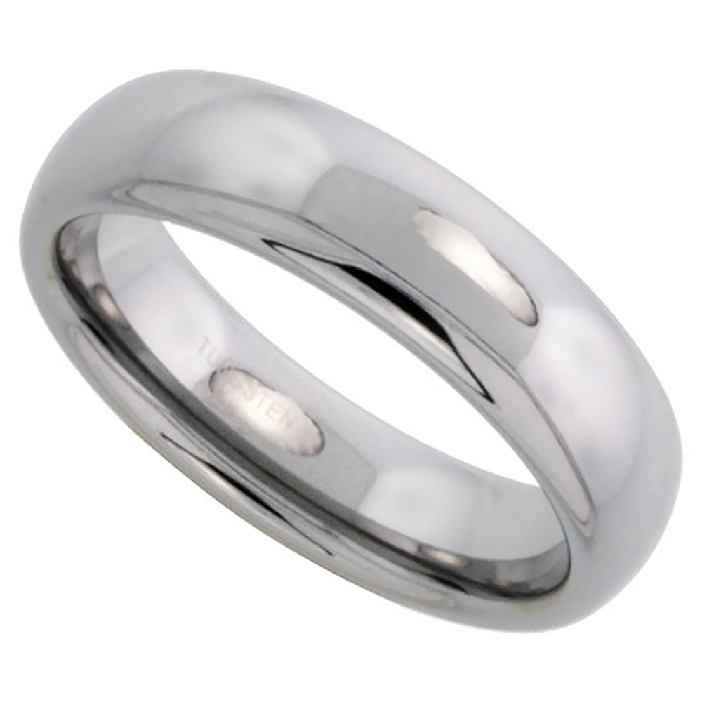 Tungsten Carbide 6 mm Domed Wedding Band Thumb Ring His & Hers Highly Polished Finish, sizes 5 to 12
