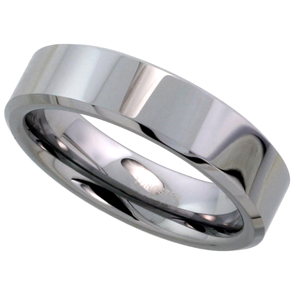 Tungsten Carbide 6 mm Flat Wedding Band Thumb Ring His & Hers Mirror Polished Finish Beveled Edges, sizes 5 to 12