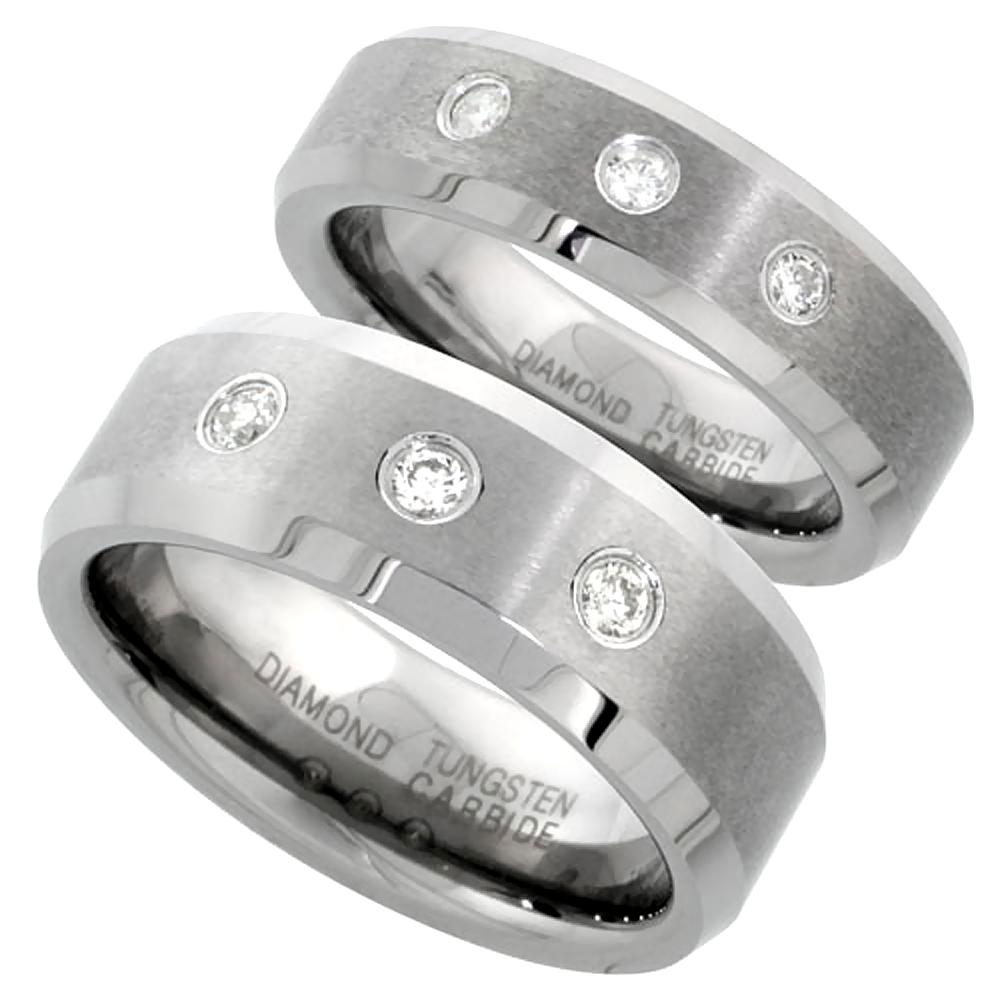 6 & 8 mm Tungsten Diamond Wedding Ring Set for Him and Her 3 stone Matte Beveled Comfort fitsizes 5-13