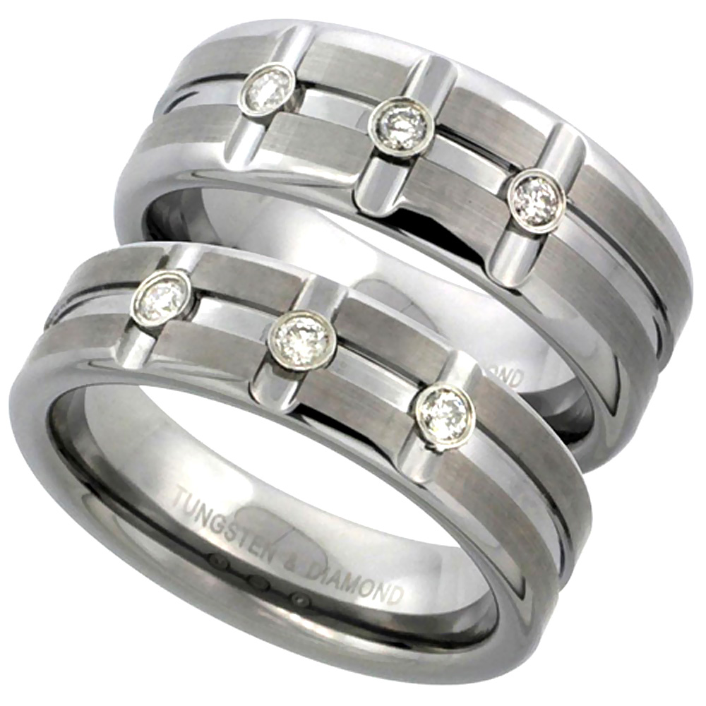 6mm Tungsten 3 Stone Diamond Wedding Ring Horizontal & Vertical Grooves Satined Comfort fit, sizes 5 to 9