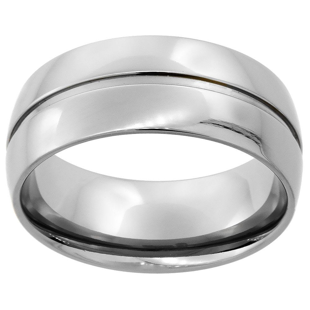 9mm Titanium Wedding Band Ring Grooved Center Domed polished Finish Comfort Fit, sizes 7 - 14