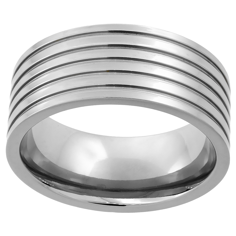 9mm Titanium Wedding Band Ring 5 Grooves Flat polished Finish Comfort Fit, sizes 7 - 14