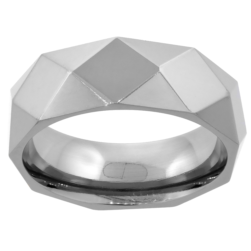 8mm Titanium Wedding Band Ring Faceted Polished Comfort Fit, sizes 7 - 14