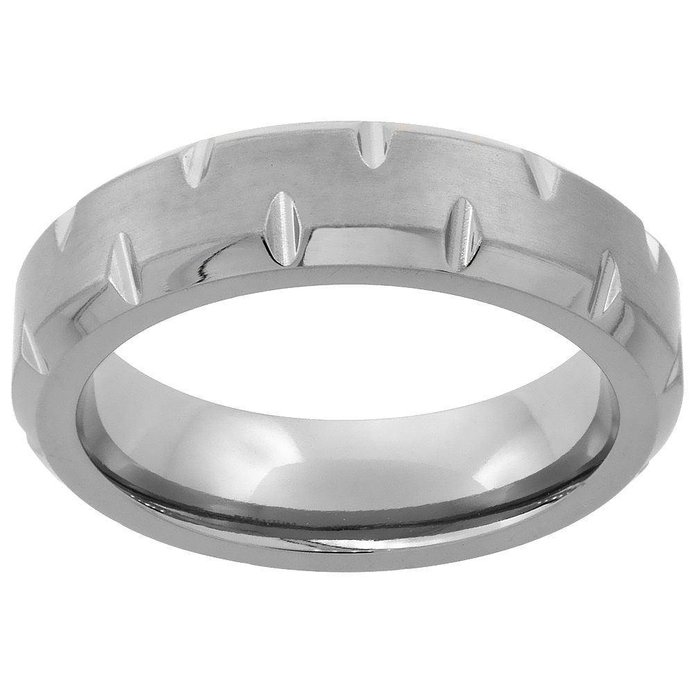 6mm Titanium Wedding Band Notched Ring Beveled Edges Brushed Finish Flat Comfort Fit, sizes 7 - 14