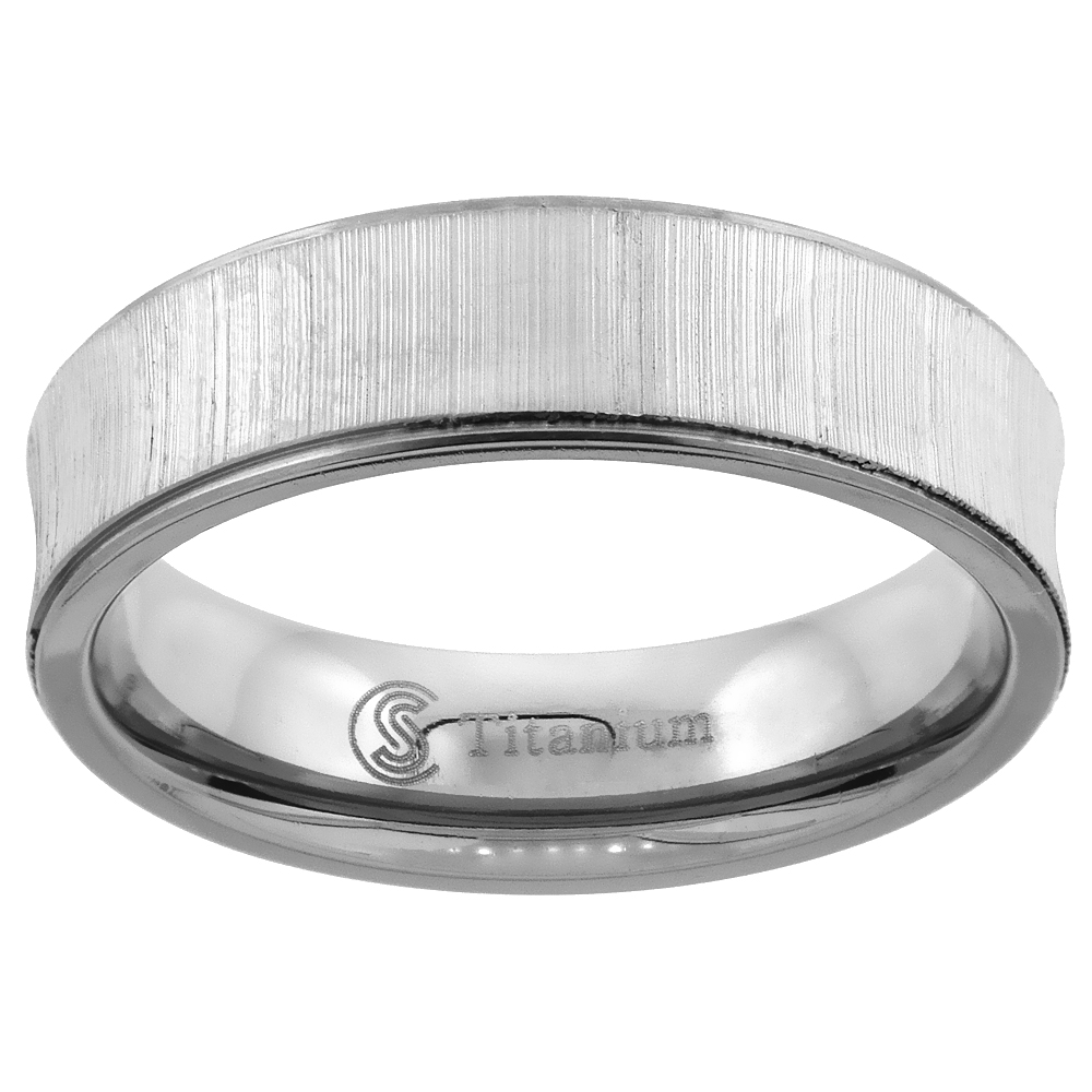 6mm Titanium Wedding Ring Concaved Brushed Recessed Edges Comfort Fit, sizes 7 - 14
