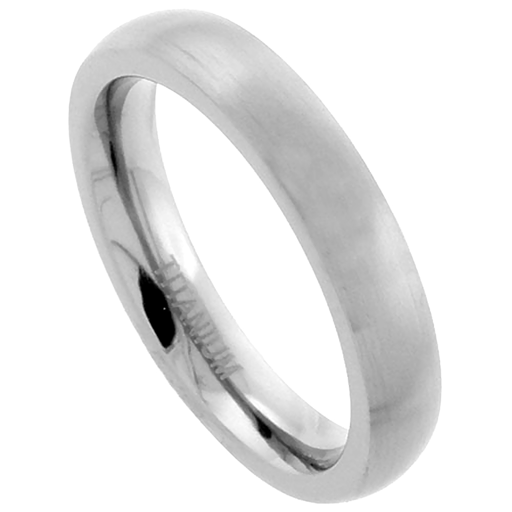 4mm Titanium Wedding Band Thumb Ring Brushed Finish Domed Comfort Fit, sizes 7 - 13