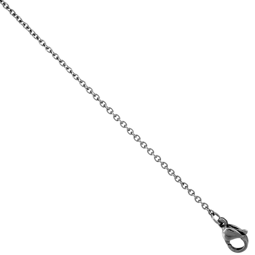 Surgical Steel Cable Chain Necklace 1.2 mm Very Thin, sizes 16, 18, 20 and 24 inch