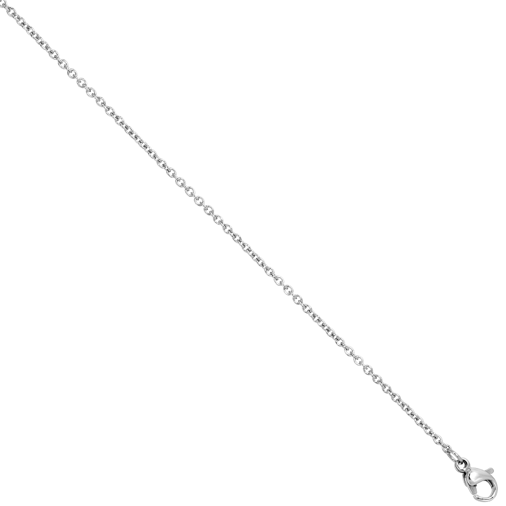 Surgical Steel Cable Chain Necklace 1.55mm Very Thin, 20 and 24 inch