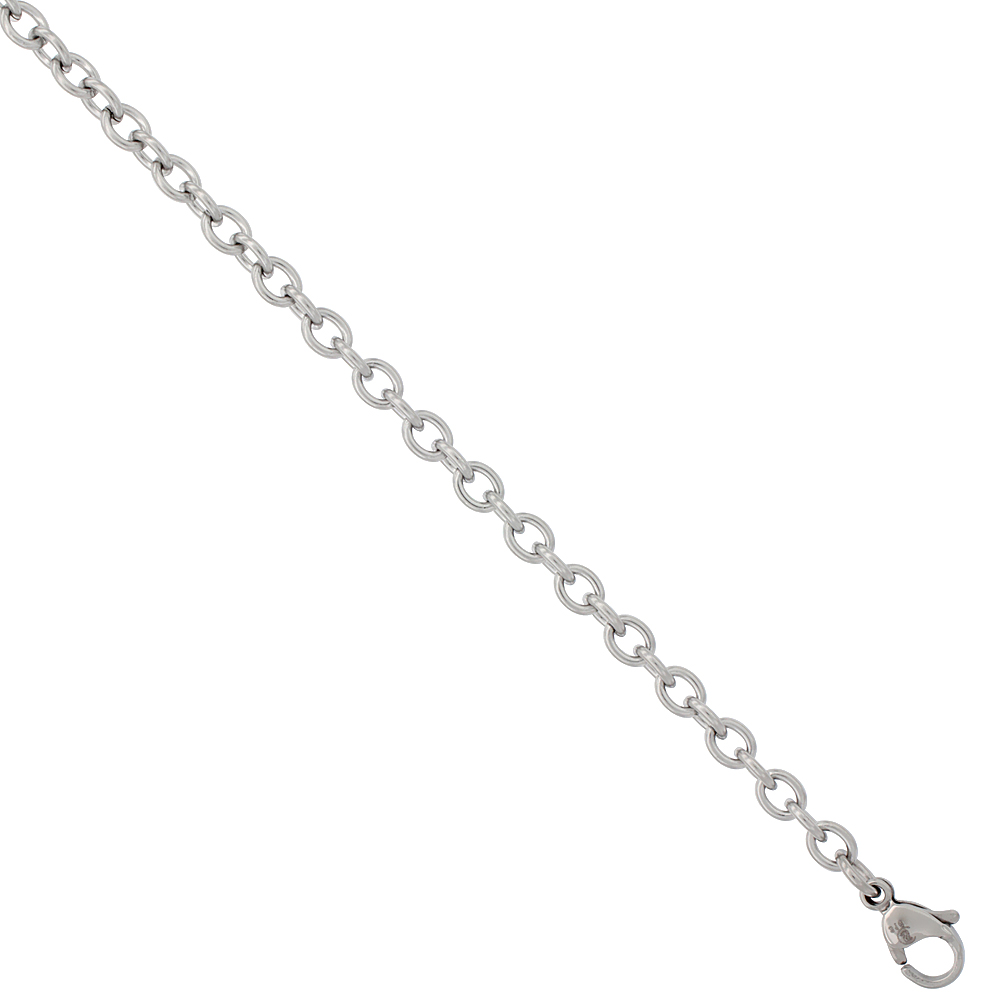 Surgical Steel Cable Chain 3/16 inch wide, available sizes 20, 24, 30 inch