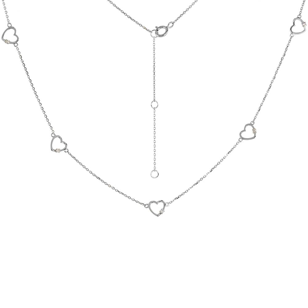 Dainty 14k White Gold Diamond Hearts Station Necklace 16-18 inch