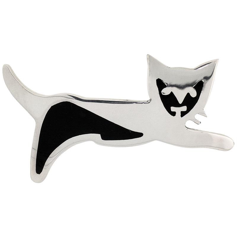 "Sterling Silver Puma Cat Brooch Pin, 2 1/2"" (63 mm) wide"