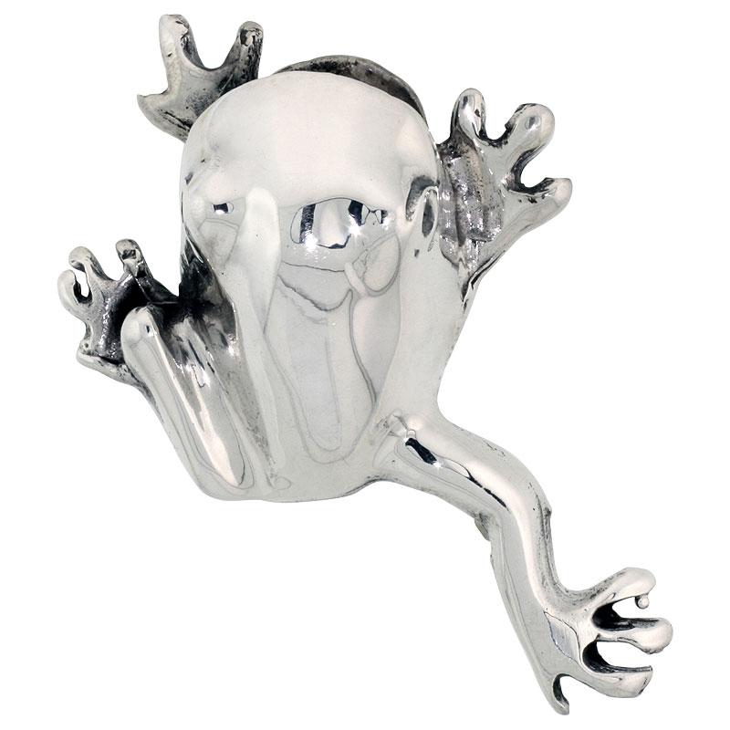 "Sterling Silver Happy Hopper Frog Brooch Pin, 1 7/8"" (48 mm) tall"
