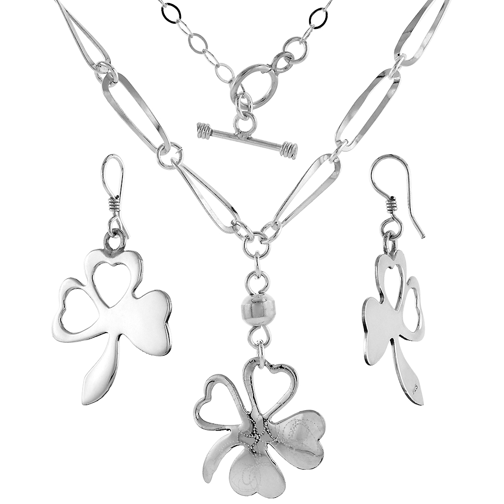Sterling Silver Shamrock Toggle Necklace and Earring Set