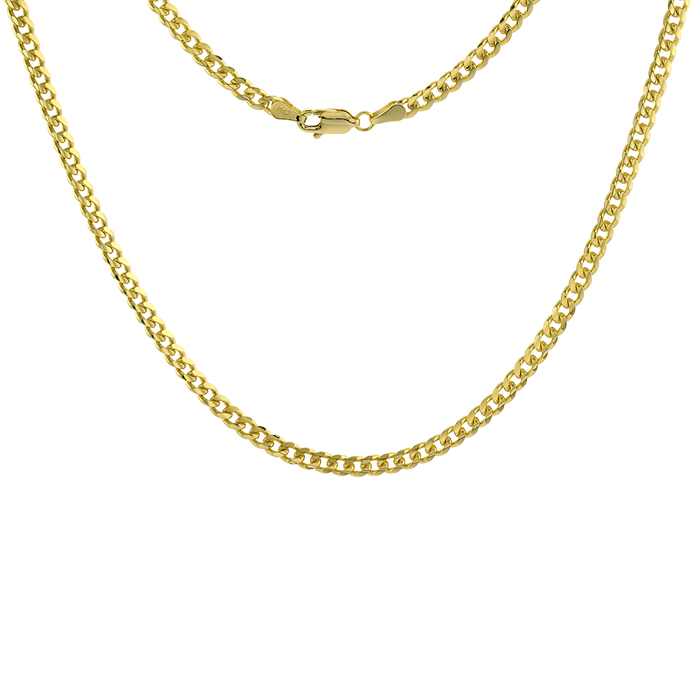 Solid 14k Gold 3.5mm Miami Cuban Link Chain Necklace for Men and Women 22-28 inch