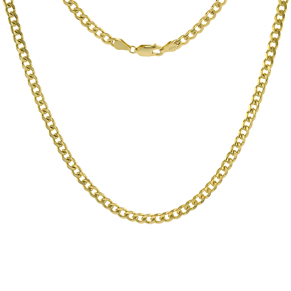 Solid 14k Gold 4mm Miami Cuban Link Chain Necklace for Men and Women 22-28 inch