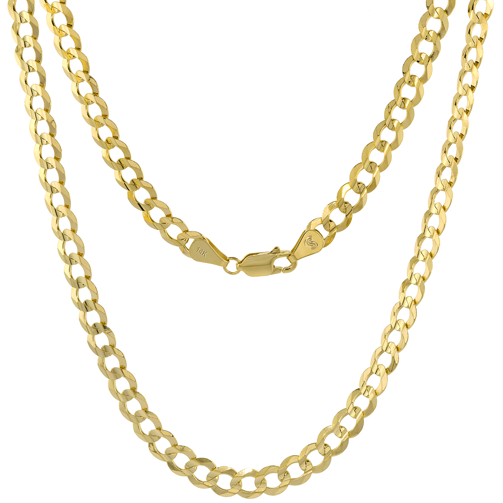 Yellow 14k Gold 2-12 mm Curb Link Chain Necklace for Men and Women Concaved Beveled Edges 16 - 26 inch