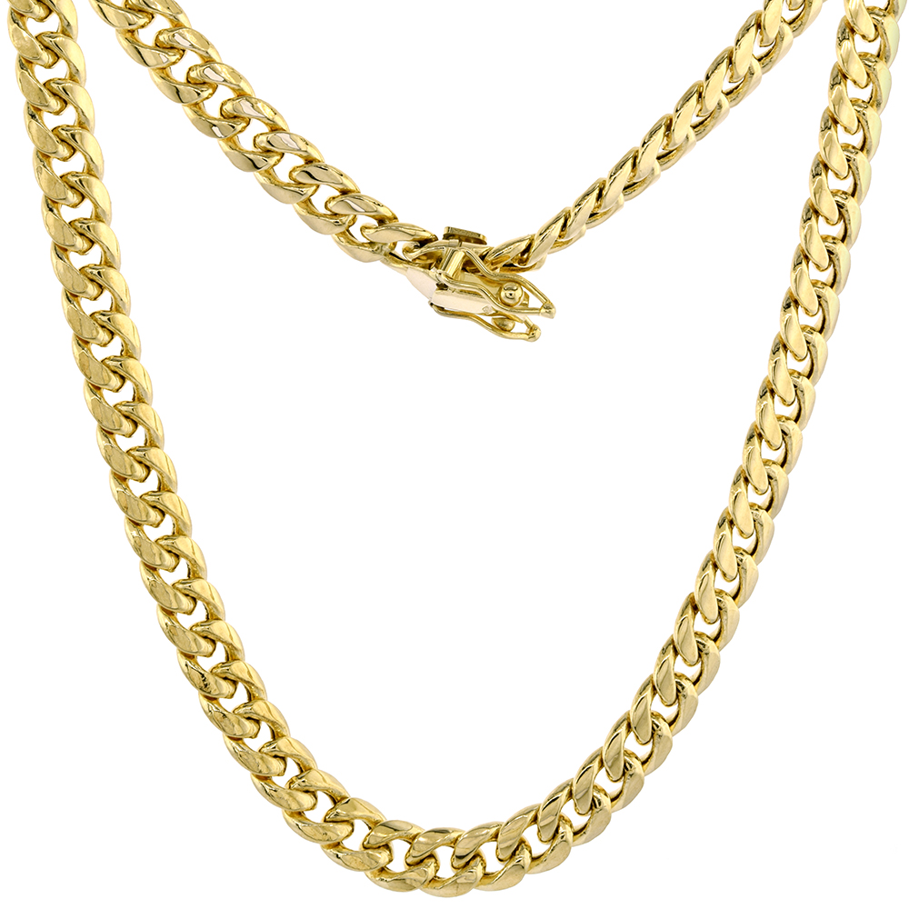 Hollow 14k Gold 6mm Miami Cuban Link Chain Necklace Box Lock for Men High Polished 8-30 inch