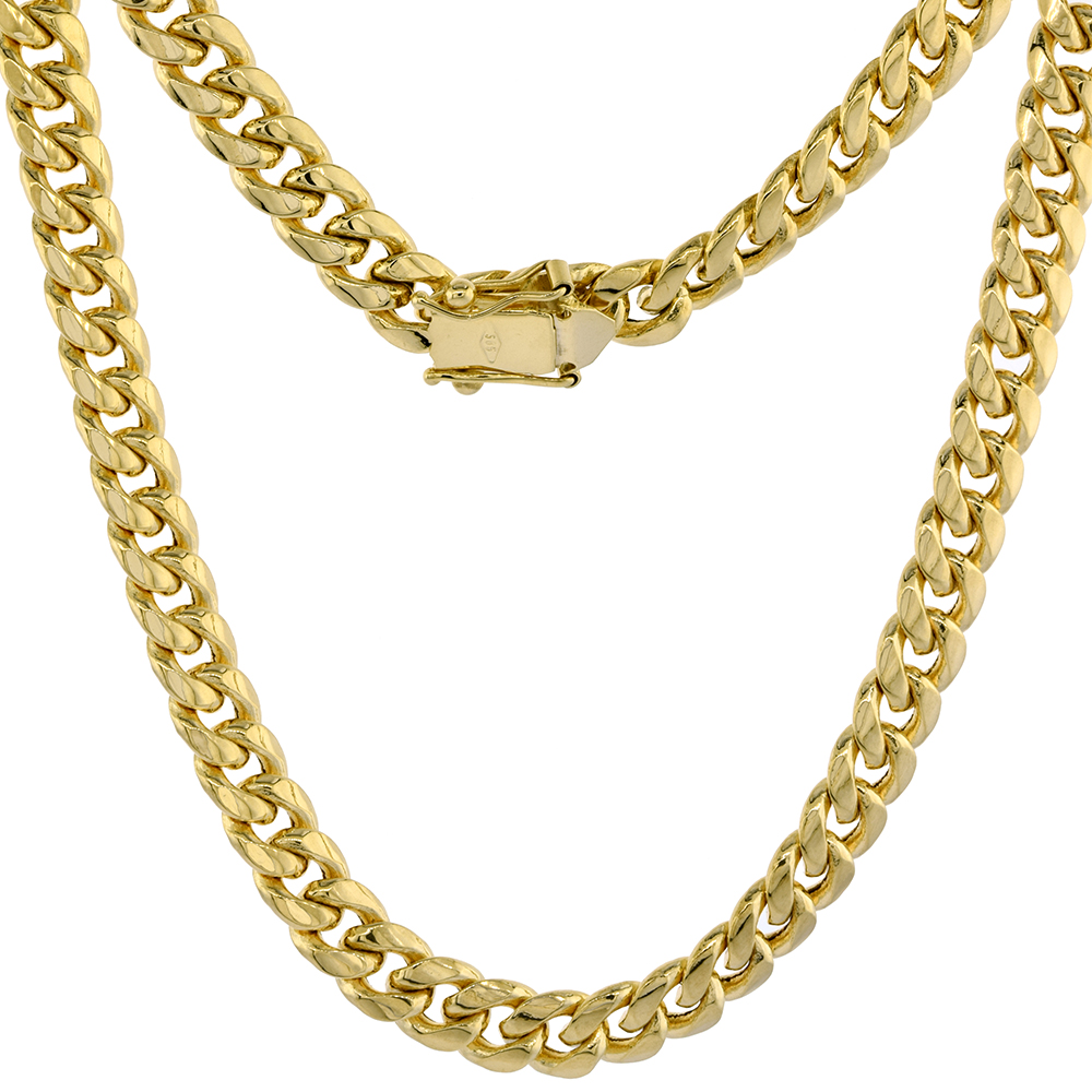 Hollow 14k Gold 7mm Miami Cuban Link Chain Necklace Box Lock for Men High Polished 8-30 inch