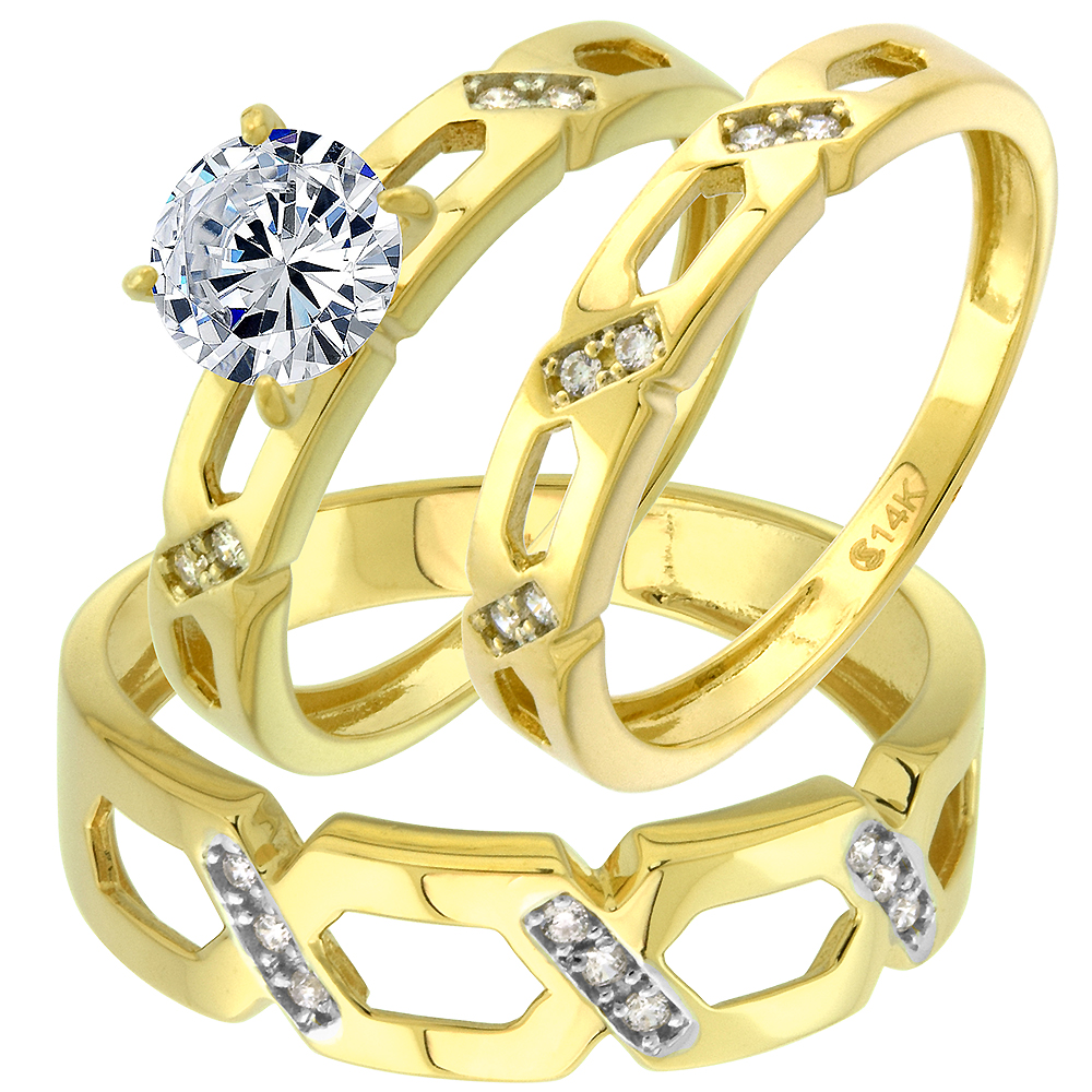 14k Yellow Gold Cubic Zirconia Trio Wedding Ring Set 3 Piece CrissCross Round Brilliant cut 7mm,size 5-10