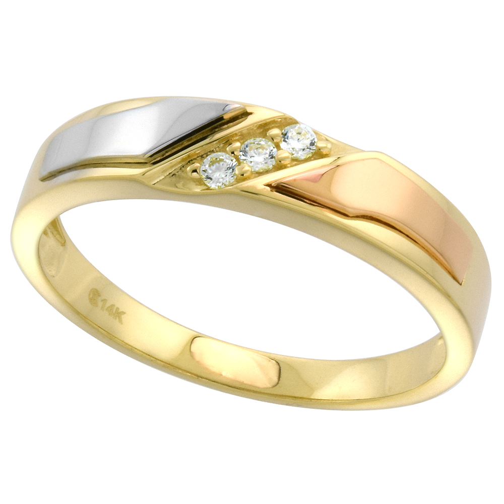 14k Tricolor Gold Cubic Zirconia Wedding Band for Men 5mm 3-Stone, size 8-14