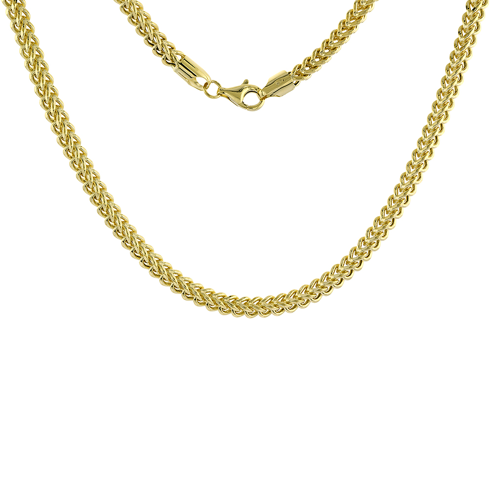 4.5mm Hollow 10k Yellow Gold Franco Chain Necklace for Men & Women Nickel Free, 24-30 inch