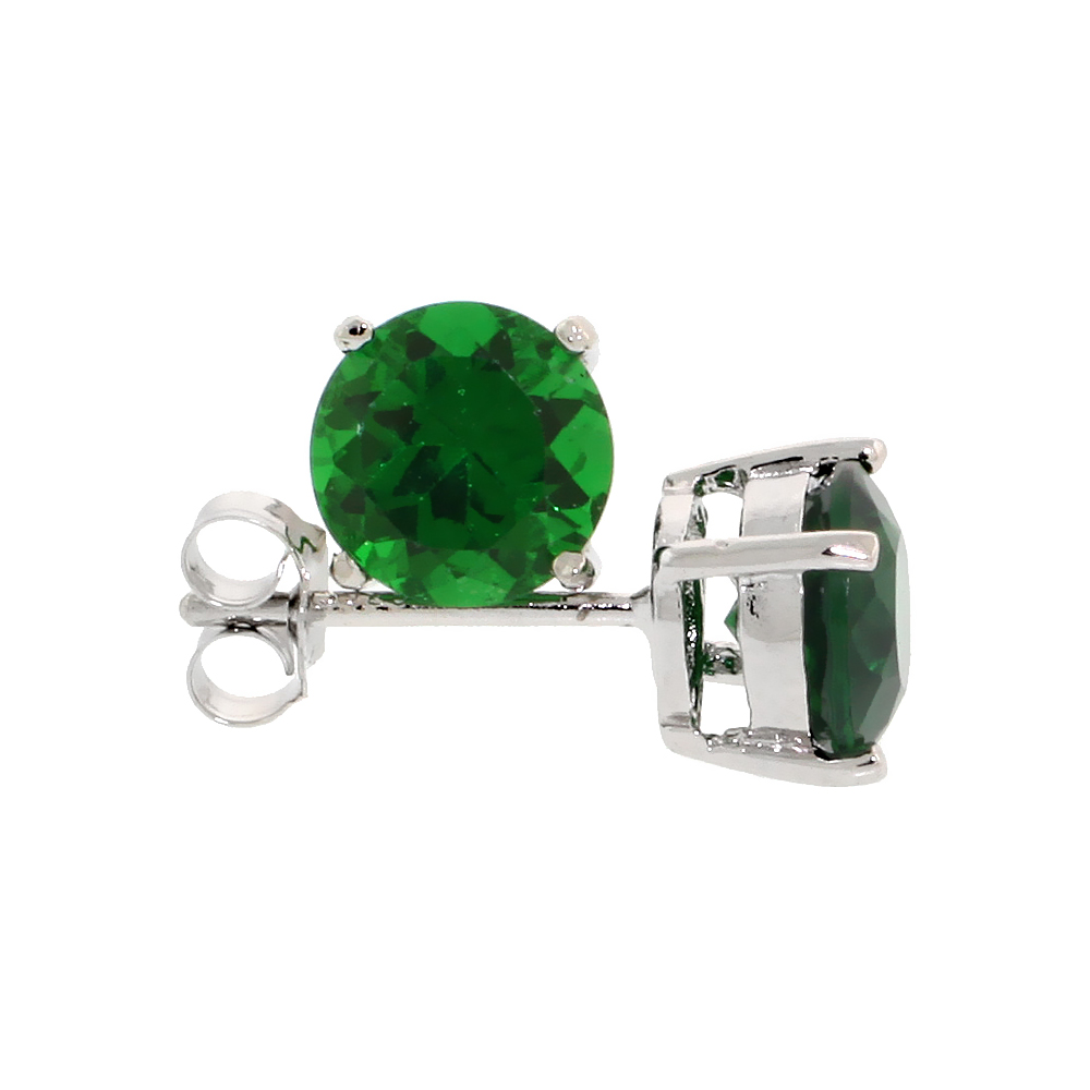 Sterling Silver CZ Emerald Earrings Studs Green Color 7 mm Platinum Coated Basket Setting 2.5 carats/pair