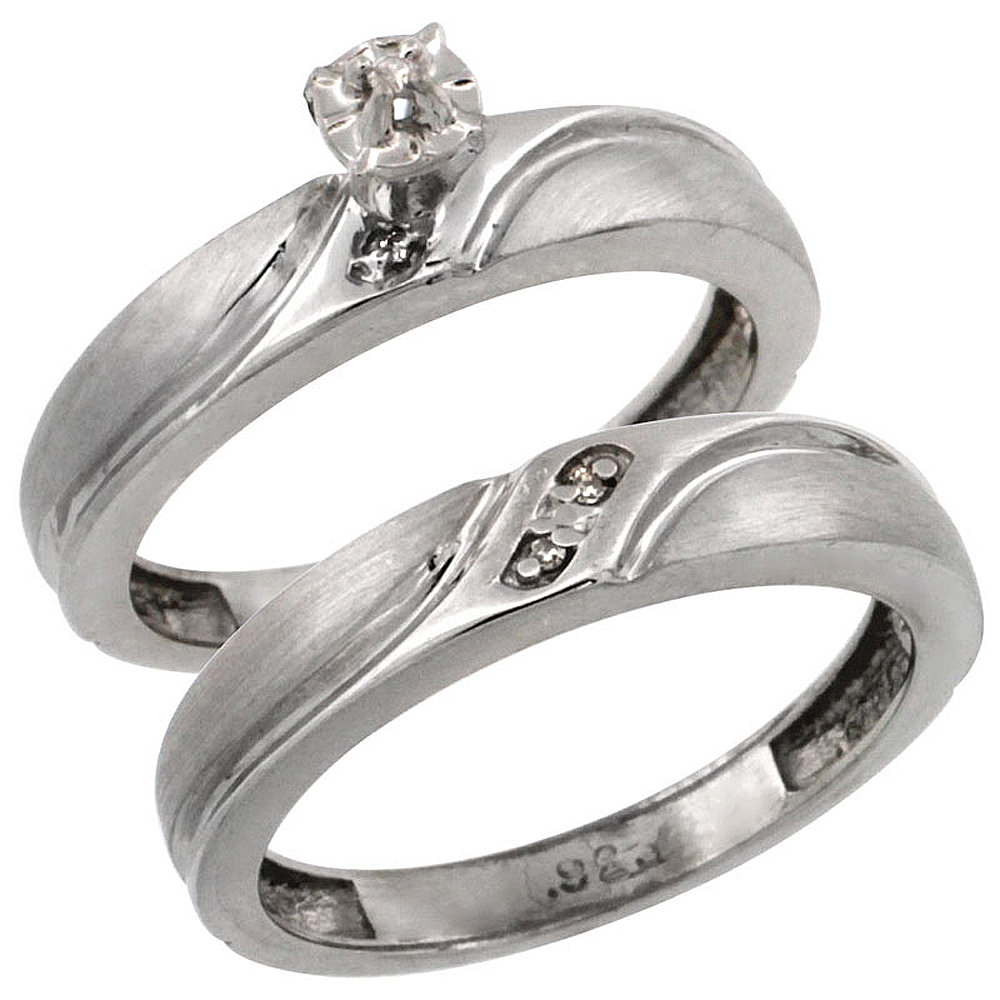 Sterling Silver 2-Pc Diamond Engagement Ring Set w/ 0.043 Carat Brilliant Cut Diamonds, 5/32 in. (4mm) wide