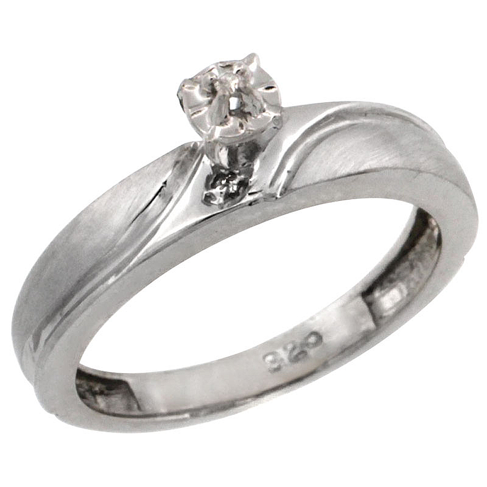 Sterling Silver Diamond Engagement Ring w/ 0.03 Carat Brilliant Cut Diamonds, 5/32 in. (4mm) wide