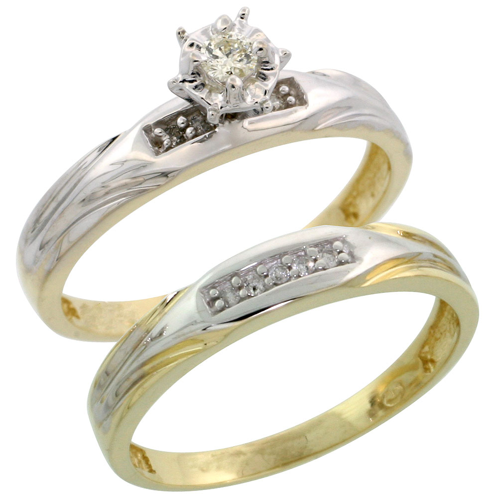 Gold Plated Sterling Silver Ladies 2-Piece Diamond Engagement Wedding Ring Set, 1/8 inch wide