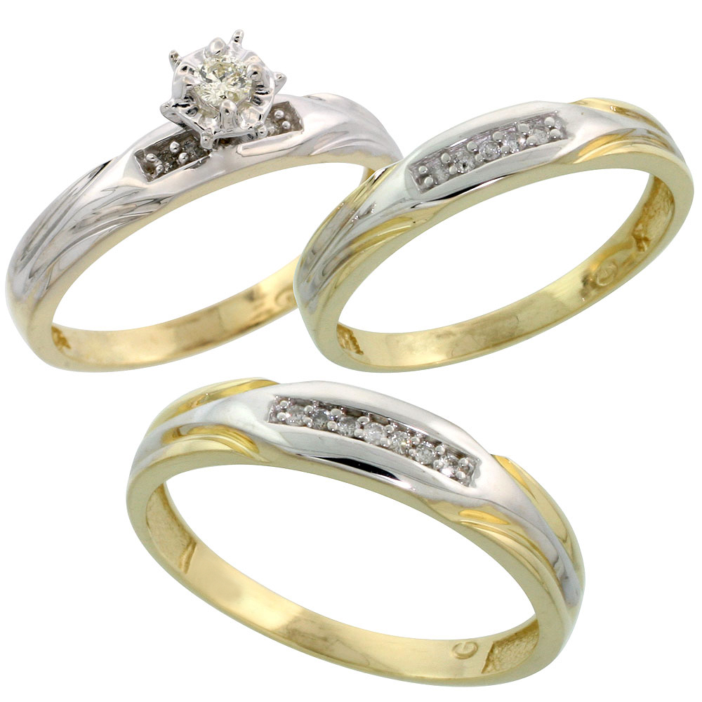 Gold Plated Sterling Silver Diamond Trio Wedding Ring Set His 4.5mm & Hers 3.5mm, Mens Size 8 to 14