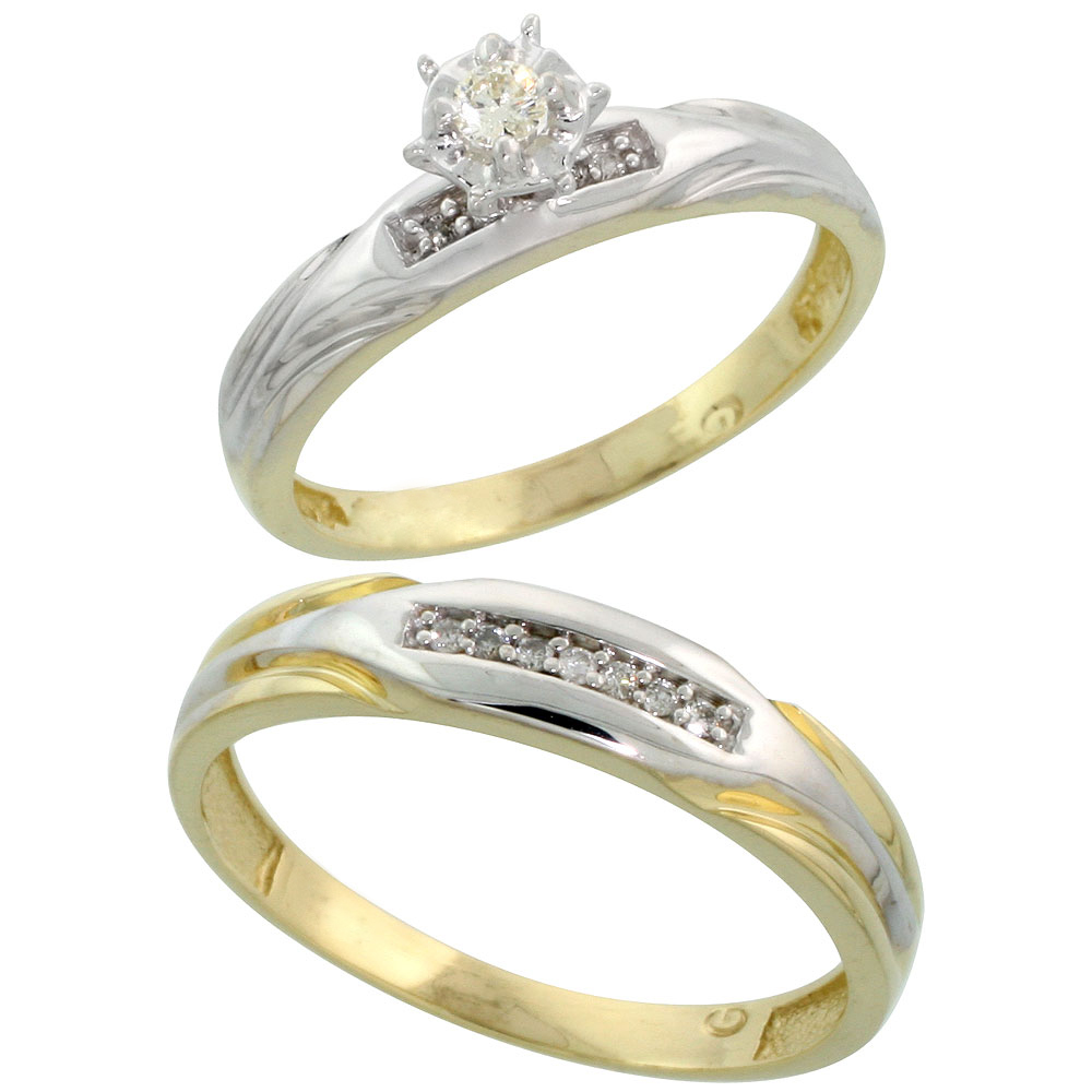 Gold Plated Sterling Silver 2-Piece Diamond Wedding Engagement Ring Set for Him and Her, 3.5mm & 4.5mm wide