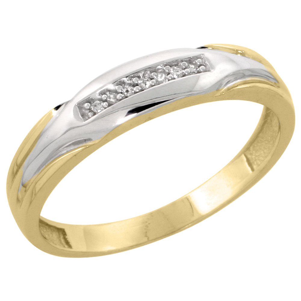 Gold Plated Sterling Silver Mens Diamond Wedding Band, 3/16 inch wide