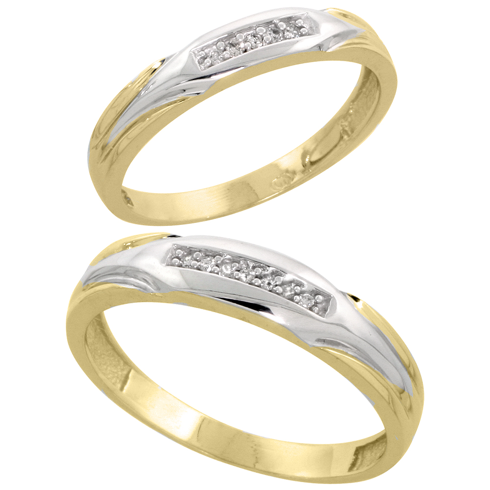 Gold Plated Sterling Silver Diamond 2 Piece Wedding Ring Set His 4.5mm & Hers 3.5mm, Mens Size 8 to 14