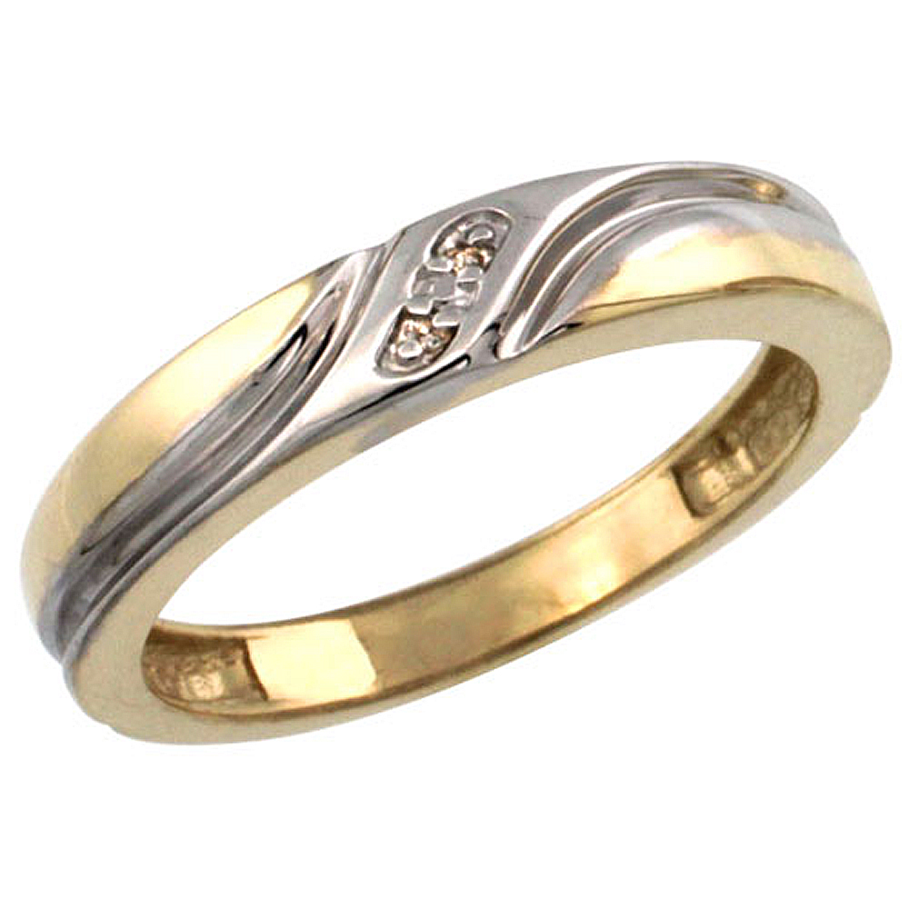 Gold Plated Sterling Silver Ladies Diamond Wedding Ring 5/32 inch wide