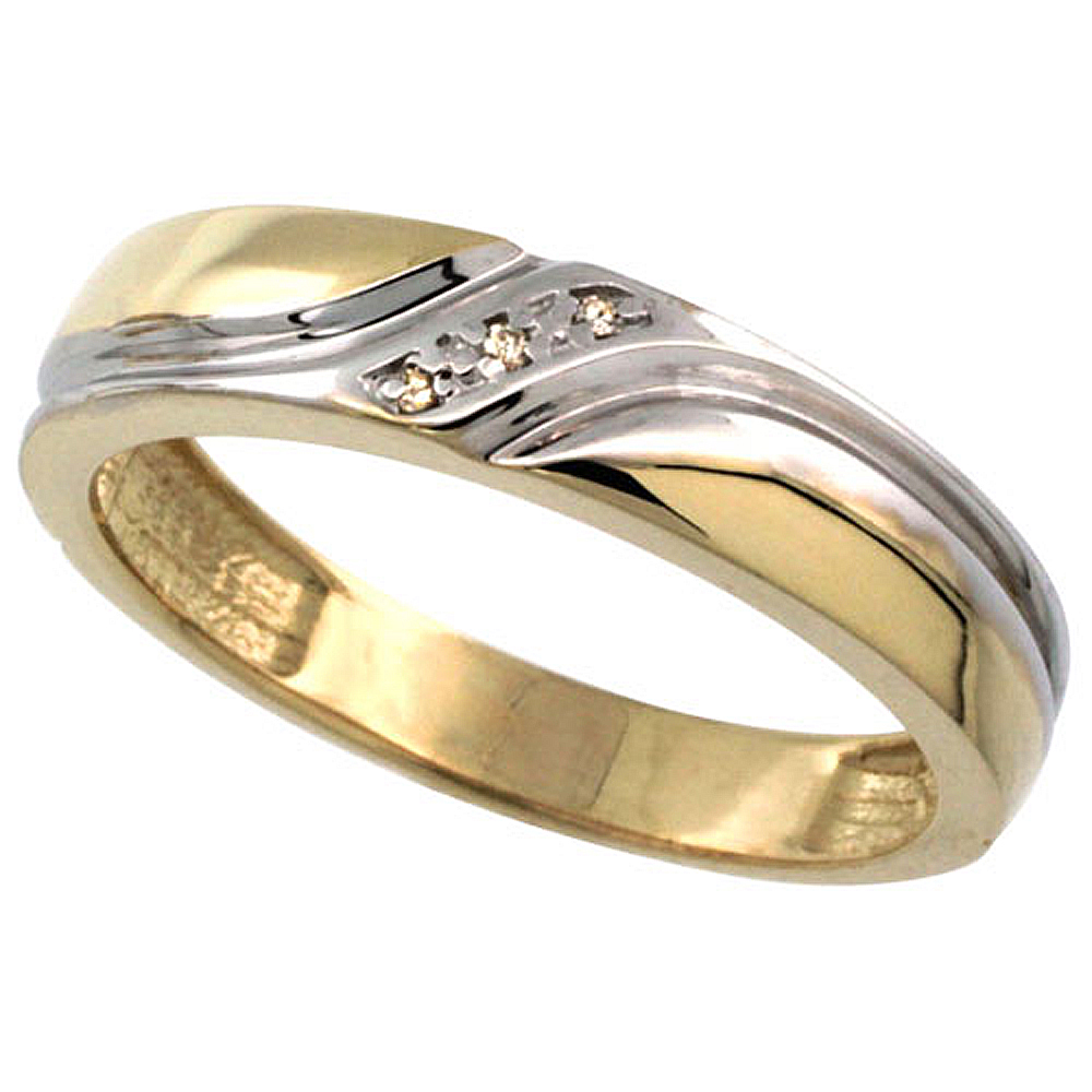 Gold Plated Sterling Silver Mens Diamond Wedding Ring 3/16 inch wide