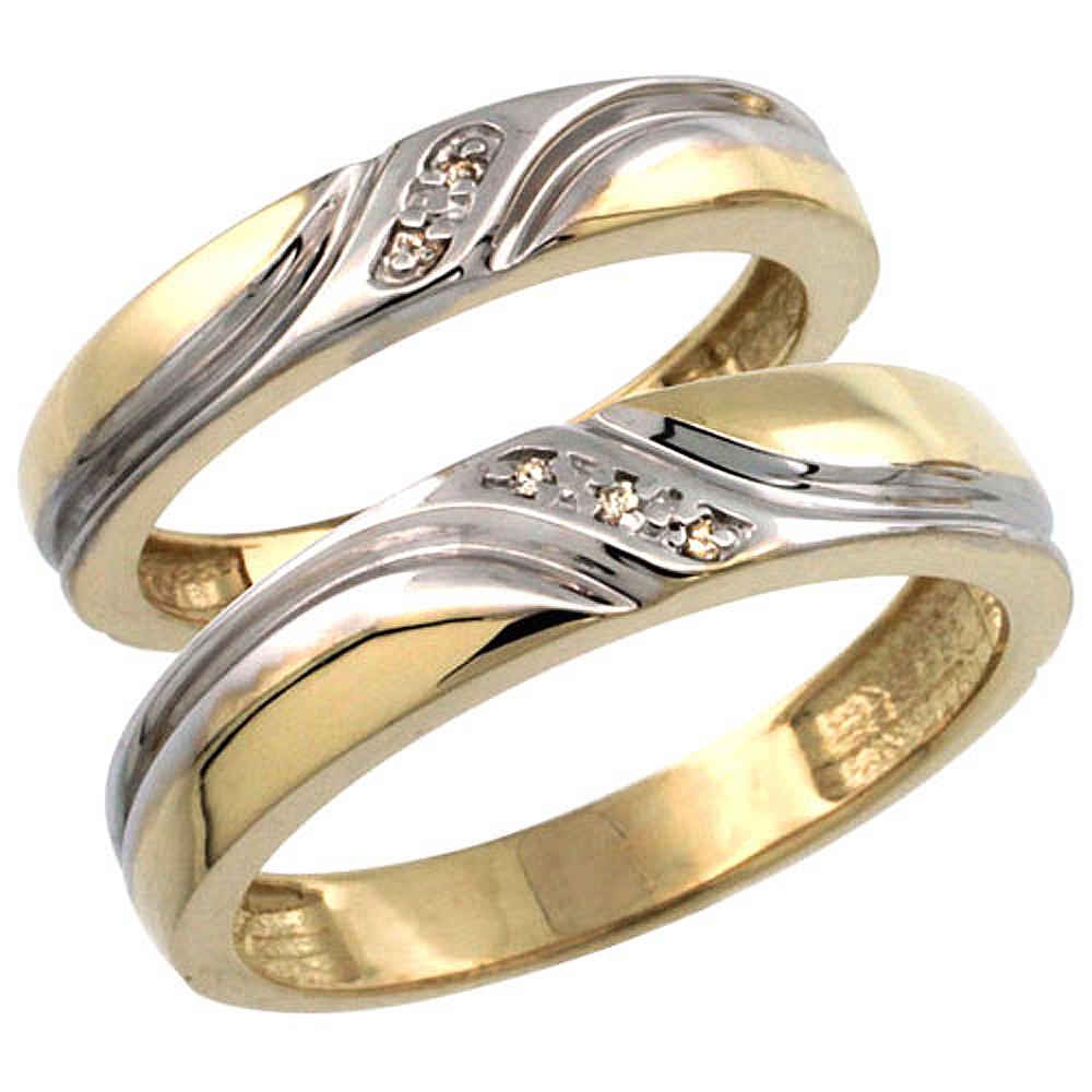 Gold Plated Sterling Silver Diamond 2 Piece Wedding Ring Set His 5mm & Hers 4mm Ladies Sizes 5 to 10; Mens Sizes 8 to 14
