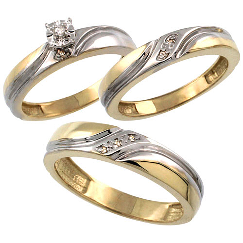 Gold Plated Sterling Silver Diamond Trio Wedding Ring Set His 5mm & Hers 4mm 0.062 cttw Ladies 5-10; Men 8 to 14
