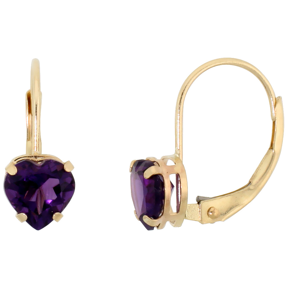 10k Yellow Gold Natural Amethyst Heart Leverback Earrings 6mm February Birthstone, 9/16 inch long