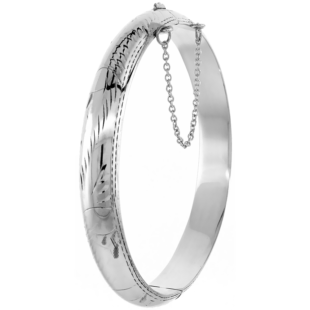 Sterling Silver Bangle Bracelet Floral Engraving Safety Chain 3/8 inch wide