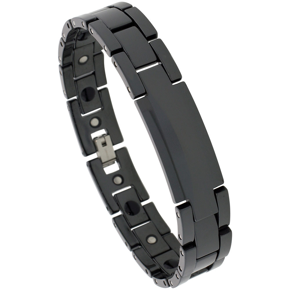 Ceramic Black ID Bracelet Magnetic Therapy, 7/16 inch wide,