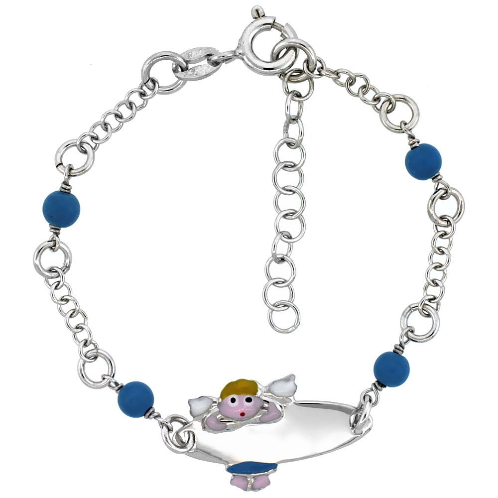 Sterling Silver Rolo Link Baby ID Bracelet in White Gold Finish w/ Blue Turquoise Color Beads & Angel Charm (5-6 inch)