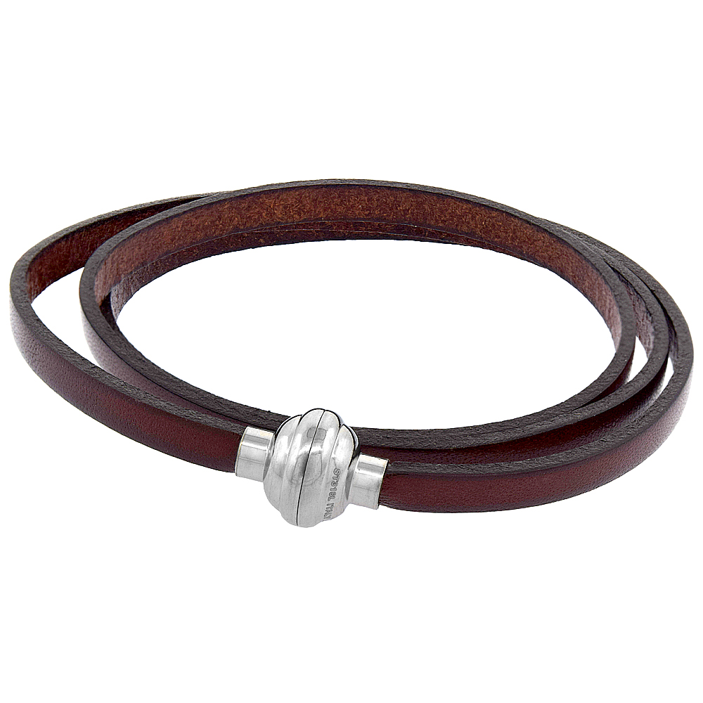 Quality Full Grain Brown Leather Wrap Bracelet Stainless Steel Magnetic Clasp Italy 22.5 inch