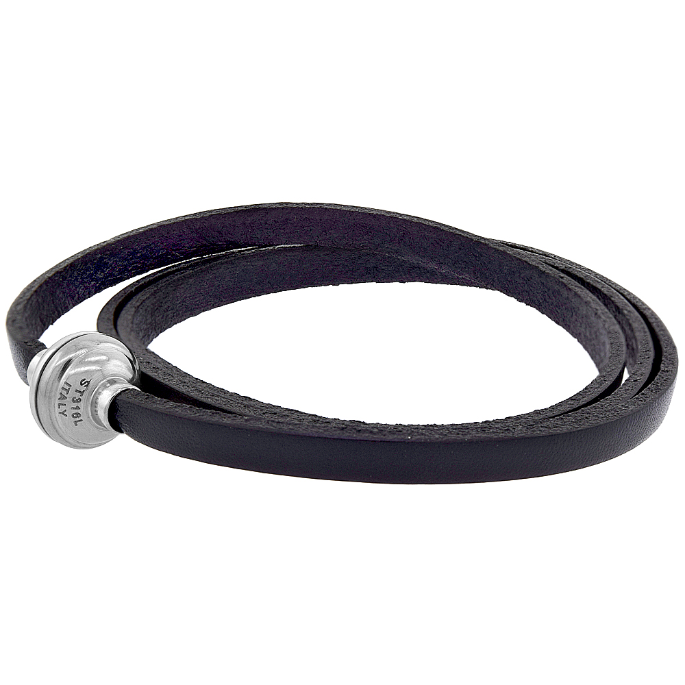 Quality Full Grain Black Leather Wrap Bracelet Stainless Steel Magnetic Clasp Italy 22.5 inch