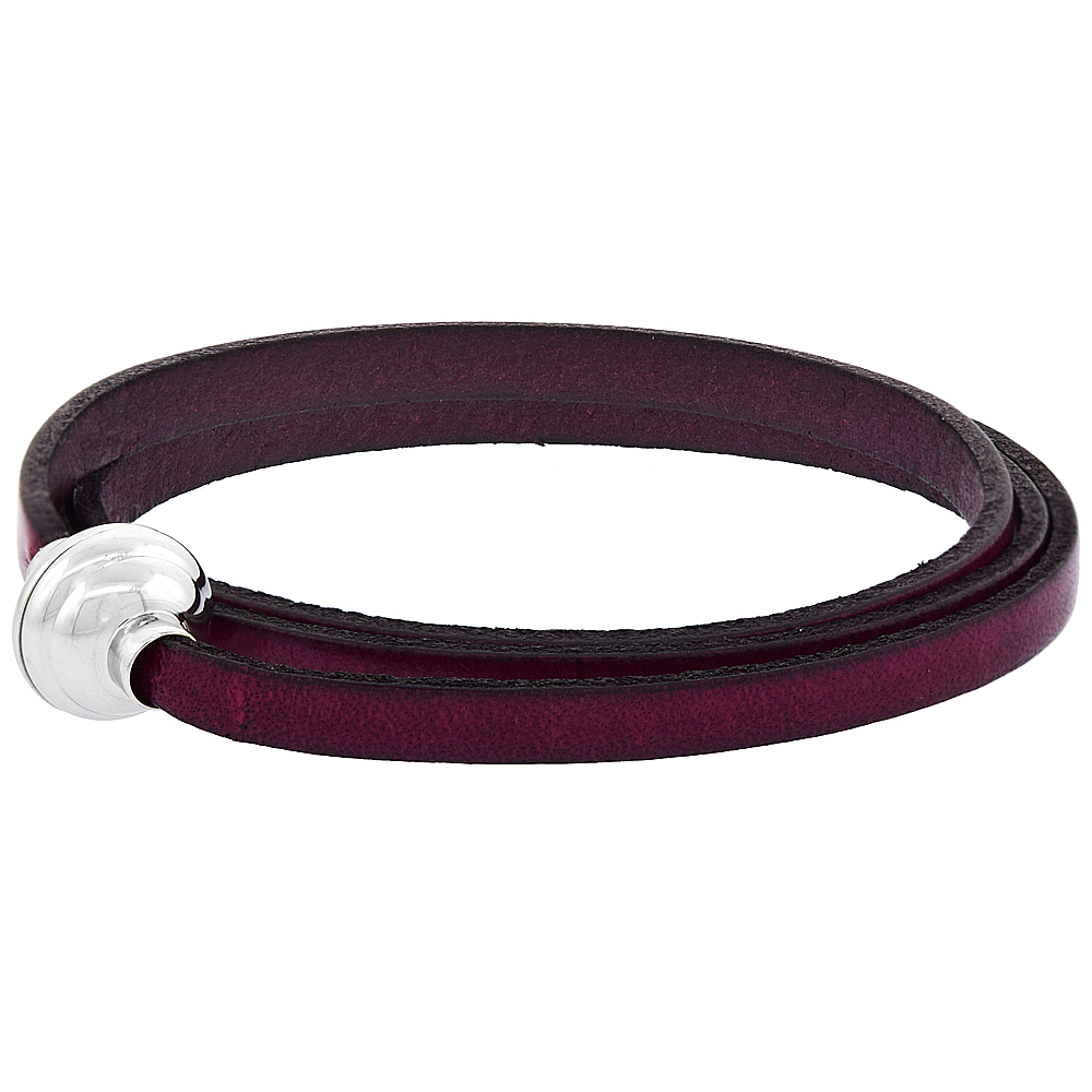 Quality Full Grain Fuchsia Leather Wrap Bracelet Stainless Steel Magnetic Clasp Italy 22.5 inch