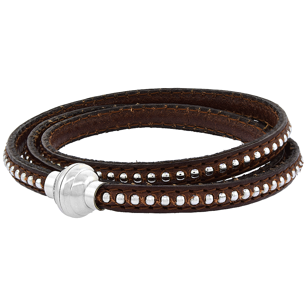 Quality Full Grain Brown Leather Wrap Bracelet Bead Inlay Stainless Steel Magnetic Clasp Italy 22.5 inch