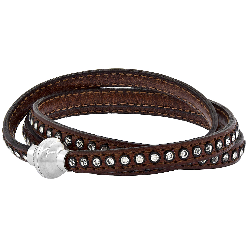 Quality Full Grain Brown Leather Wrap Bracelet Swarovski Crystal Studded Magnetic Clasp Italy 22.5 inch