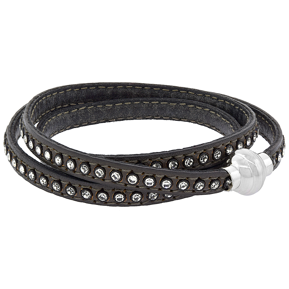 Quality Full Grain Gray Leather Wrap Bracelet Swarovski Crystal Studded Magnetic Clasp Italy 22.5 inch